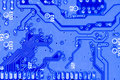 Blue circuit board closeup Royalty Free Stock Photo
