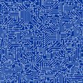 Blue circuit board seamless pattern texture. High-tech background in digital computer technology concept. Abstract illustration Royalty Free Stock Photo