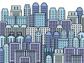 Blue city illustration skyscrapers and modern buildings contemporary metropolis and urban landscape Royalty Free Stock Images