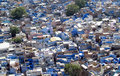 Blue city in jodhpur rajasthan india view from the top beautiful of historical part of many houses old part of Stock Photo