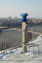 A blue city panorama telescope in Novi Sad, Serbia Royalty Free Stock Photo