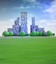 Blue cityscape with office buildings in heaven illustration Royalty Free Stock Photos