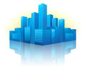 Blue cityscape in perspective Royalty Free Stock Image