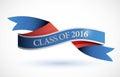 Blue class of 2016 ribbon banner illustration