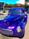 Blue classic car an old on the street Stock Photos