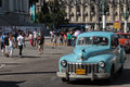 Blue classic old american car near capitole in havana cuba february the streets of cars are still use cuba and timers have Royalty Free Stock Image