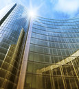 Blue clean glass wall of modern skyscraper perspective view Stock Image