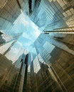 Blue clean glass wall of modern skyscraper perspective view Stock Images