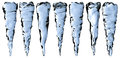 Blue clear icicles set isolated on white background decoration element Royalty Free Stock Image
