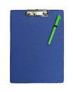 Blue clipboard plastic isolated with clipping path included Royalty Free Stock Photo