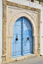 Blue closed tunisian doors Stock Images