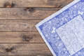 Blue cloth on wooden table, top view Royalty Free Stock Photo