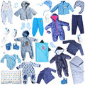 Blue clothes for baby boy isolated on white background Royalty Free Stock Photos