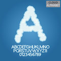 Blue cloud alphabet and numbers vector set of Stock Photography