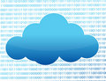 Blue cloud and binary numbers Stock Photo
