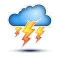 Blue Cloud with Lightning signs for Bad Weather Royalty Free Stock Photos