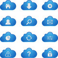 Blue Cloud Sign Set Royalty Free Stock Photo