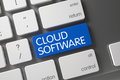 Blue Cloud Software Button on Keyboard. 3D. Royalty Free Stock Photo