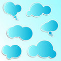 Blue cloud stickers Royalty Free Stock Images