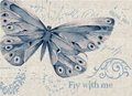 Blue cloudy watercolor butterfly