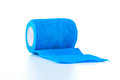 Blue coban bandage wrap self adherent is a comfortable lightweight for sustained reliable compression Royalty Free Stock Photography