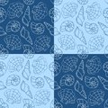 Blue cockleshells seamless pattern vector cartoon background Stock Photography