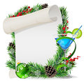 Blue cocktail scroll and christmas wreath with paper spruce branches Stock Photos