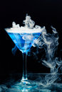 Blue cocktail with splash Royalty Free Stock Photo