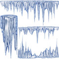 Blue cold icicles Royalty Free Stock Photography