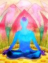 Blue color chakra human lotus pose yoga, abstract world, universe