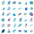 Blue color icons set, isometric style Royalty Free Stock Photo