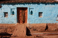 Blue color village house Stock Images