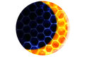 Blue colored honeycomb forming circle yellow new moon center honeymoon concept Stock Images