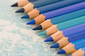 Blue Colored Pencils Royalty Free Stock Image