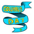 Blue Columbus Day ribbon icon, icon cartoon