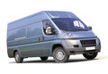 Blue commercial delivery van on a white background Royalty Free Stock Image