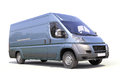 Blue commercial delivery van on a white background Royalty Free Stock Photos