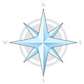 Blue compass star illustration of isolated on a white background Stock Photos