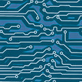 Blue computer circuit board seamless background Royalty Free Stock Images