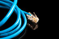Blue computer ethernet cable isolated on black background, close-up Royalty Free Stock Photo