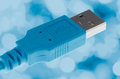 Blue Computer USB cable Royalty Free Stock Photo