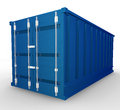 Blue container render on a white background Royalty Free Stock Images