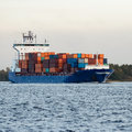 stock image of  Blue container ship