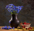 Blue cornflowers in vase and cherries beautiful Stock Images