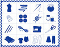 Blue craft icons sewing silhouette Στοκ Φωτογραφία