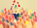 Blue crayon in love.