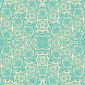 Blue cream floral damask seamless pattern