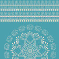 Blue and cream Indian henna elephant mandala background Royalty Free Stock Photo