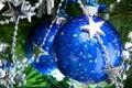 Blue cristmas balls on fir-tree Royalty Free Stock Photo