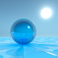 Blue crystal sphere on surreal horizon and sun lines leading away from Stock Photography